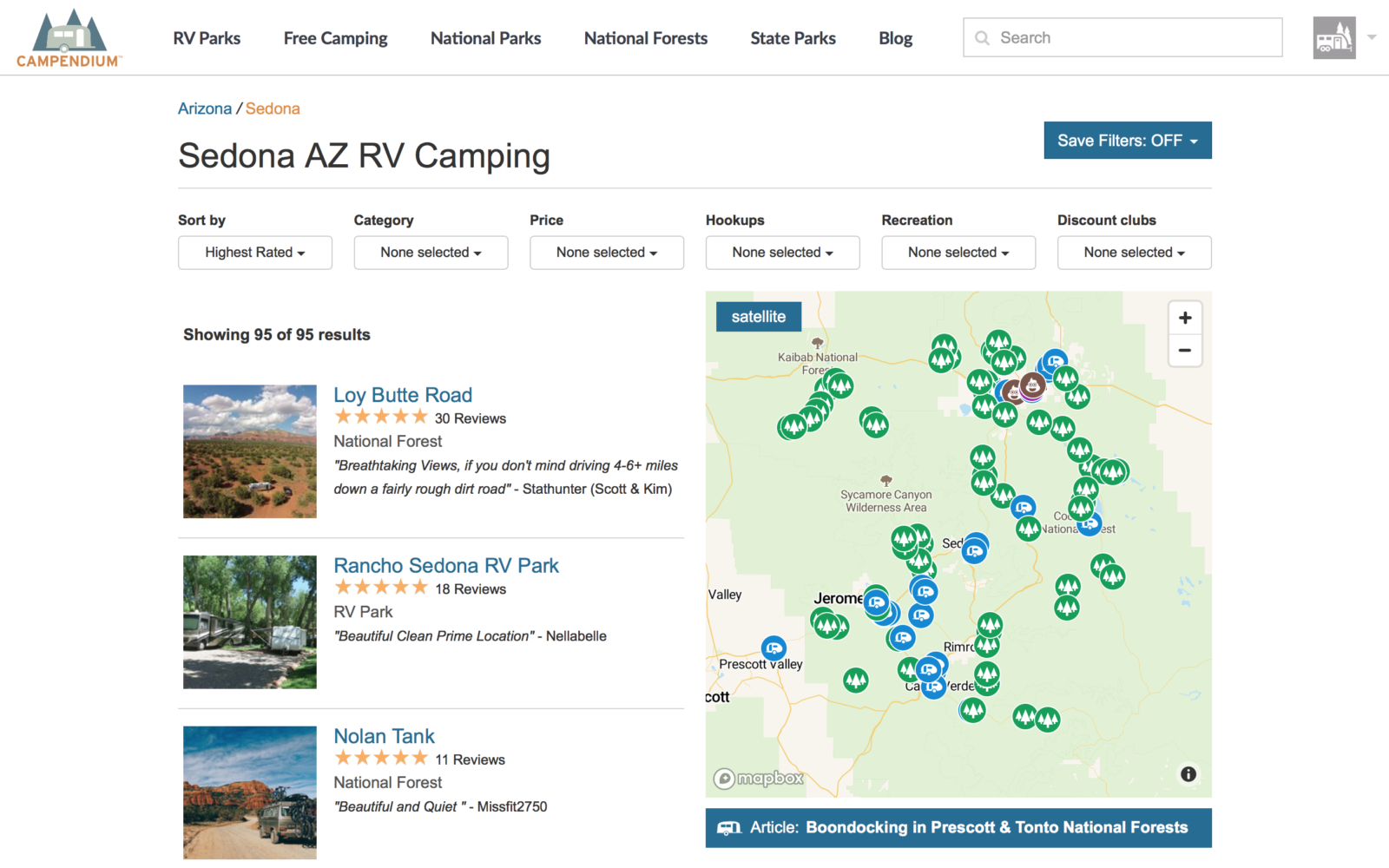 Campsite Search using Campendium.com